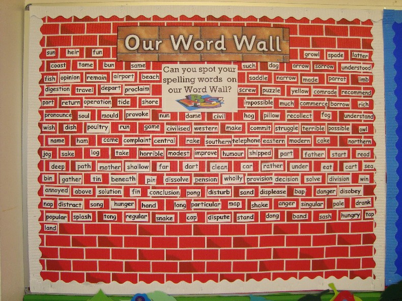 All of our spellings are displayed on this board in the main hall ...